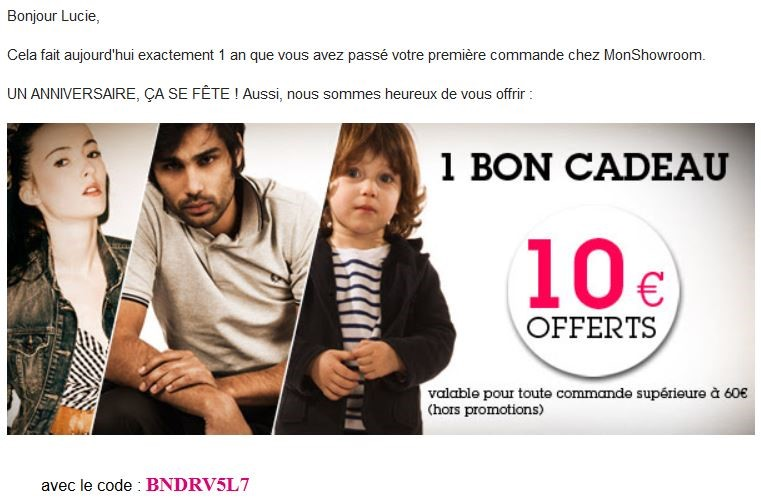 Offre promotionnelle email